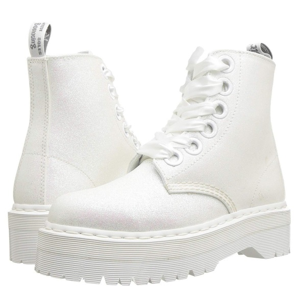 Dr Martins Molly White Glitter Boots